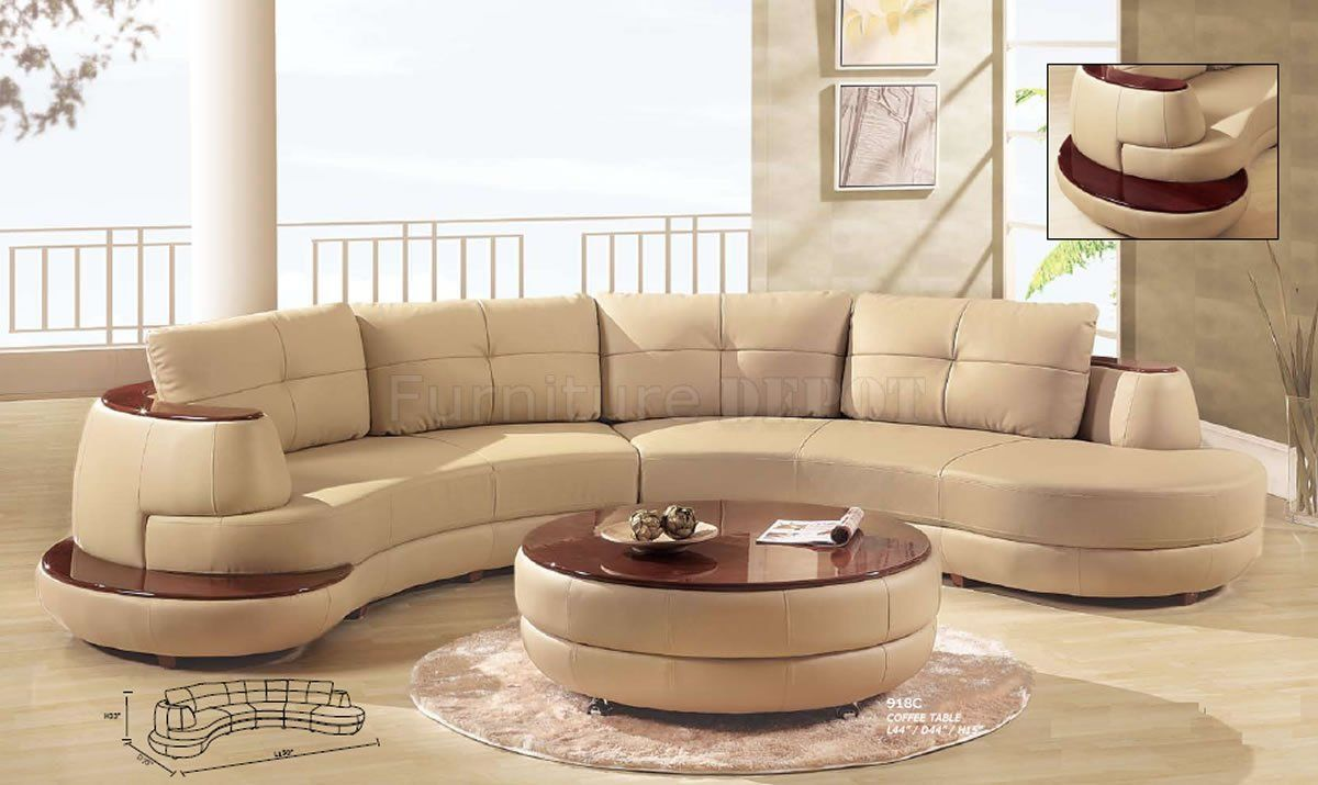 formal curved sofas | Beige Leather Modern Sectional Sofa W/Cherry Wooden  Shelf