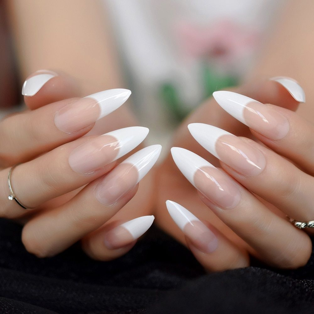 White French Tips Fake Nails Extra Long Stiletto False Nails Natural Painted Long Party Designed Nails 24 Count Nail Designs Fake Nails Nails