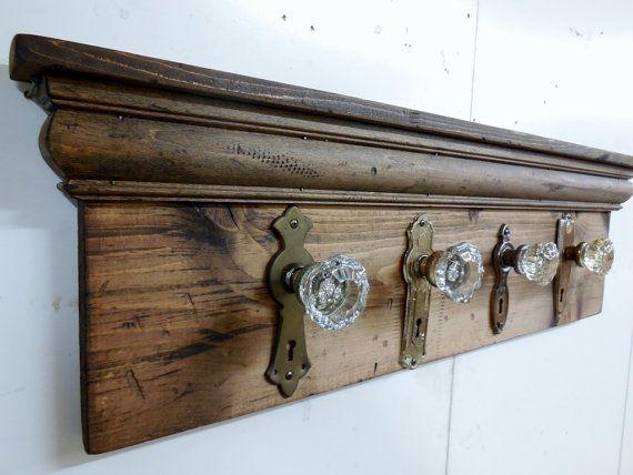 Architectural Salvage Coat Rack, Rustic Coat Rack, Antique Glass ...