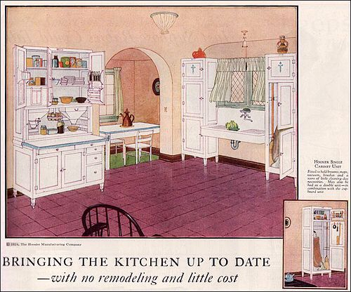1924 Hoosier Cabinet With Broom Closets