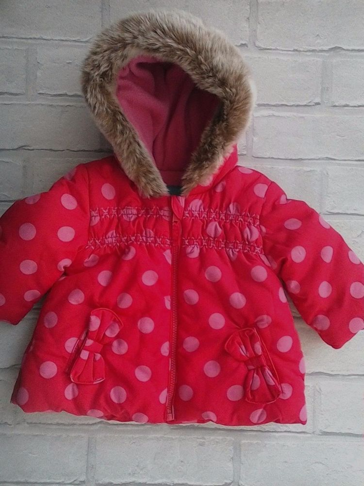 561267f45 Baby Girls Coat Hood with Faux Fur Trim 0-3 months Marks   Spencer ...