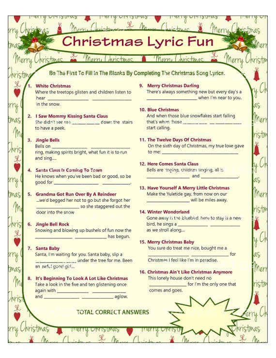 christmas song lyrics game diy instant download 8 x 10 this christmas lyrics game is a perfect group game choice for a family gathering - What Do The Lonely Do At Christmas Lyrics