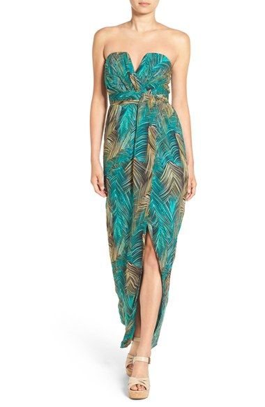 299ab007599 Free shipping and returns on TFNC  Layla  Palm Print Strapless Maxi Dress  at Nordstrom.com. The sleek