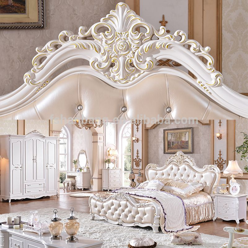 Antique luxury royal king bedroom furniture set photo for Three room set design