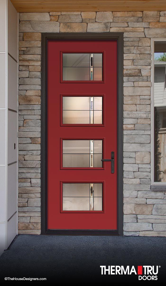Therma Tru 8 0 Pulse Fiberglass Door Painted Poinsettia With Axis Decorative Glass Fiberglass Entry Doors Fiberglass Exterior Doors Fiberglass Door