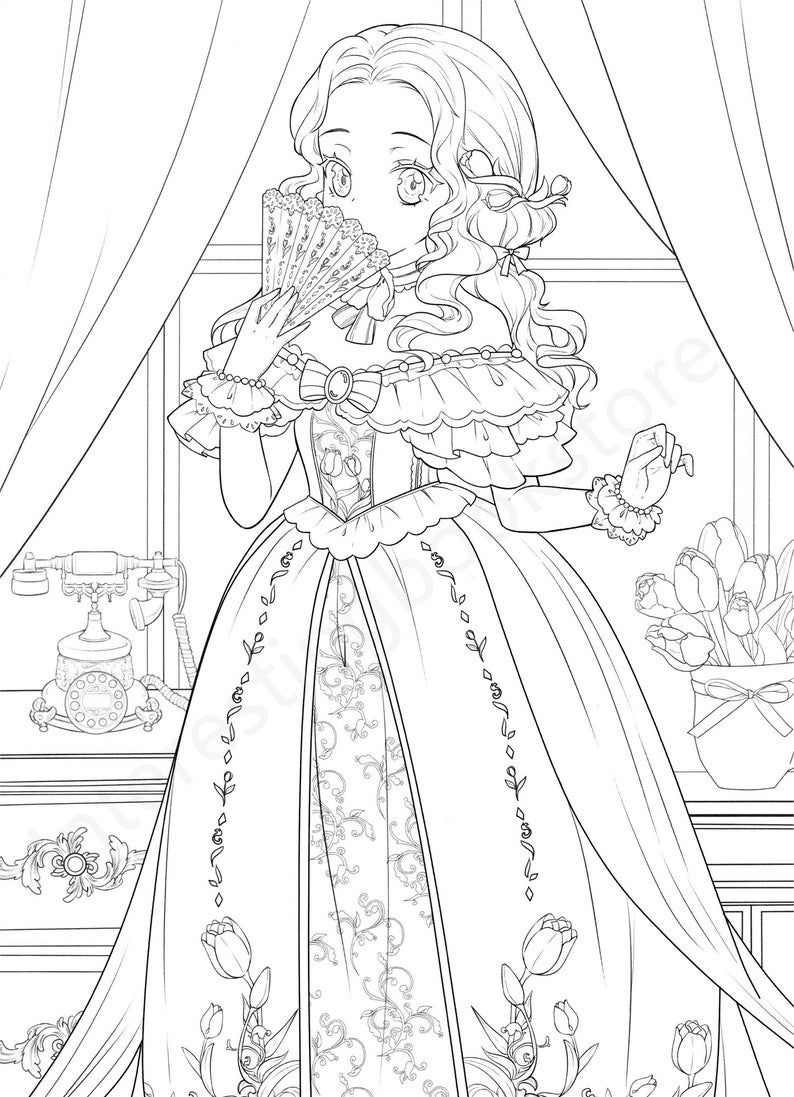 Chinese Coloring Book For Adults Flower And Mengniang Lovely Anime Girls Coloring Pages Printable Pdf Download Coloring Pages For Girls Princess Coloring Pages Cute Coloring Pages