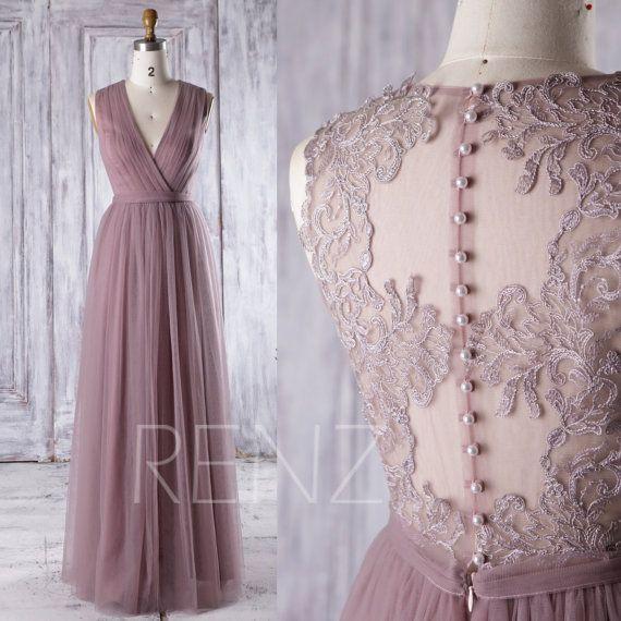 2016 Dusty Rose Mesh Bridesmaid Dress, Deep V Neck Wedding Dress, Long Maxi…