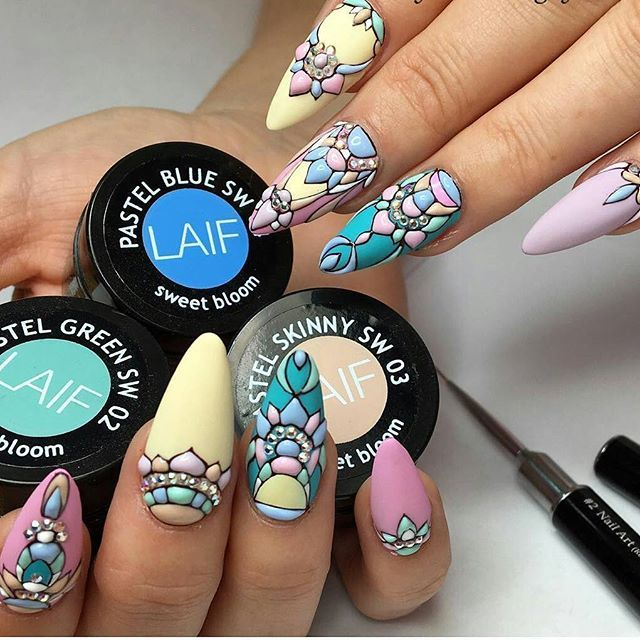 Yellow green pink mandala nail art | nails | Pinterest | Nail nail ...