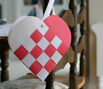 woven heart tutorial - My mom taught me how to do this with wide ribbon...very pretty!