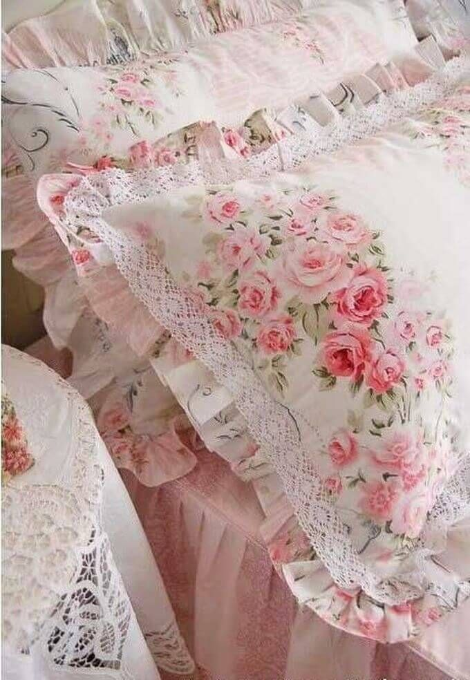 Rose Print Ruffled Pillow Shams with Lace