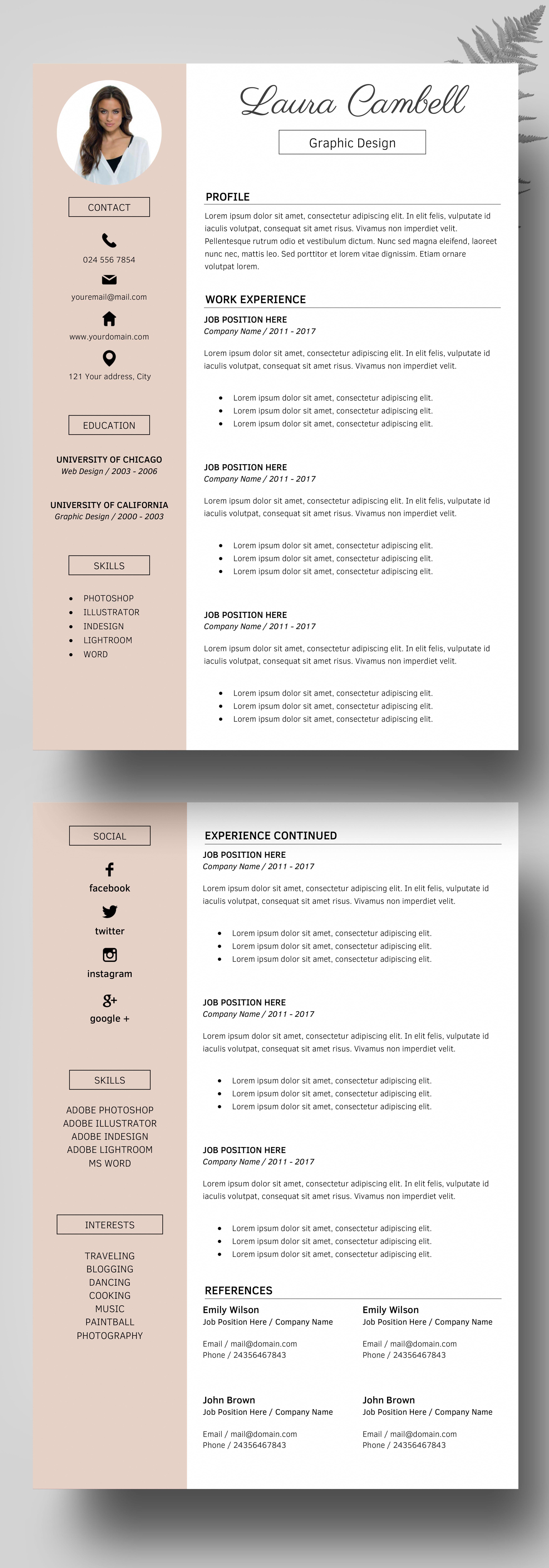 Modern Resume Template, CV Template for Word, Cover Letter