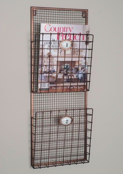 Two Compartment Hanging Wire Wall Magazine Holder Wall Magazine Holder Magazine Wall Baskets On Wall