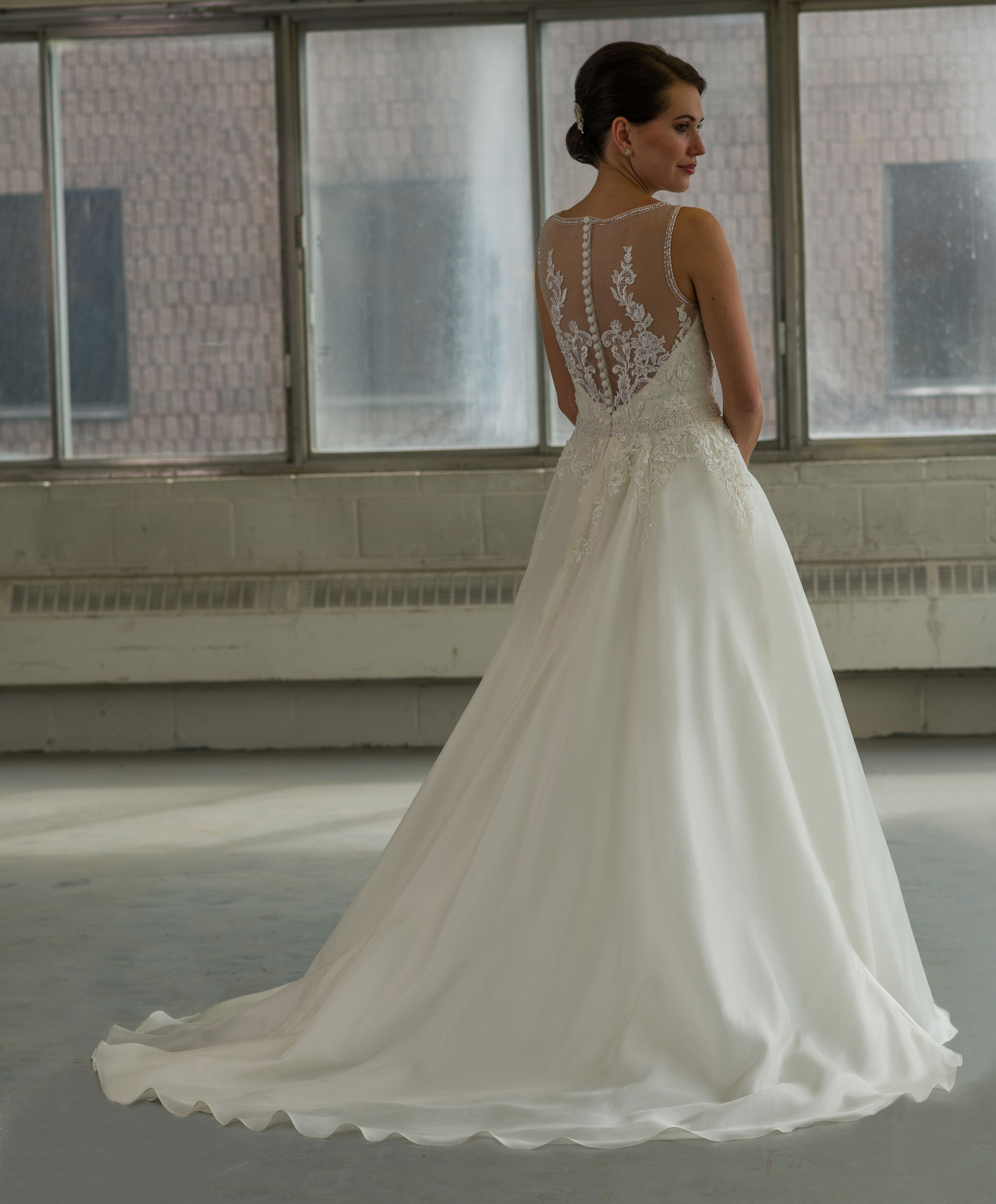 Best wedding dresses for 50 year olds  Bridalane style  silk organza wedding gown with beaded illusion