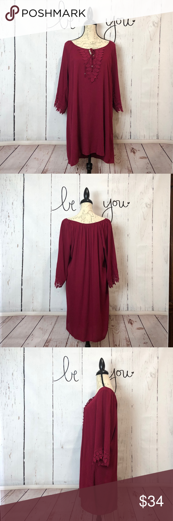NAIF Cranberry Burgundy Red Dress or Tunic XL Naïf Tunic/Peasant Boho style dress in a cranberry burgundy red color. Fully lined. Tie keyhole front. …