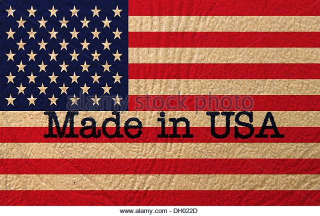 Made in USA text on flag - Stock Image