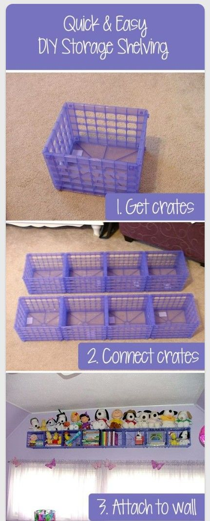 hang dollar store crates for wall storage in the kid's room