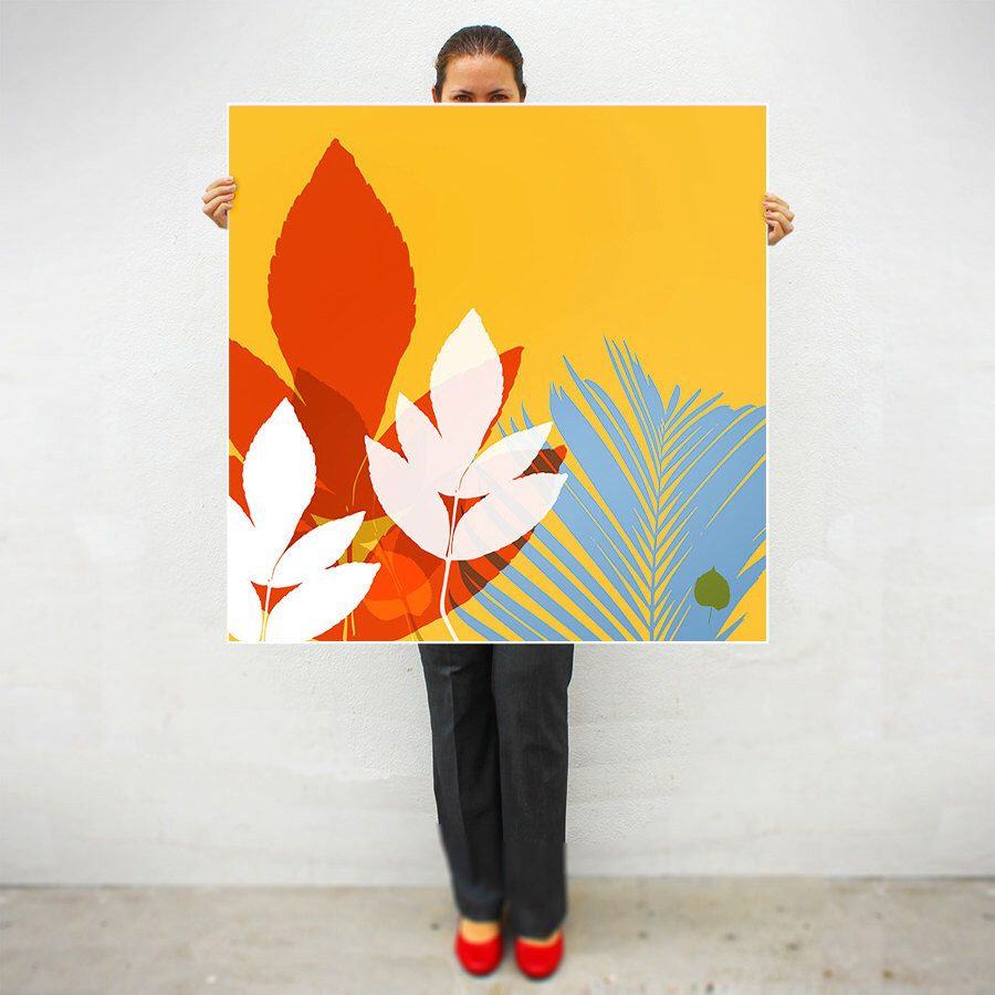 Extra large print,Garden collection,Leaves,Tropical,Colorful decor ...