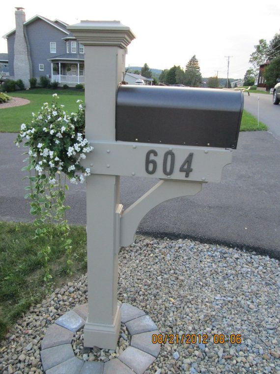 Mailbox Post Wooden With Planter Box And By Laurelwoodcottage 215 00 Mailbox Landscaping Mailbox Post Mailbox Makeover