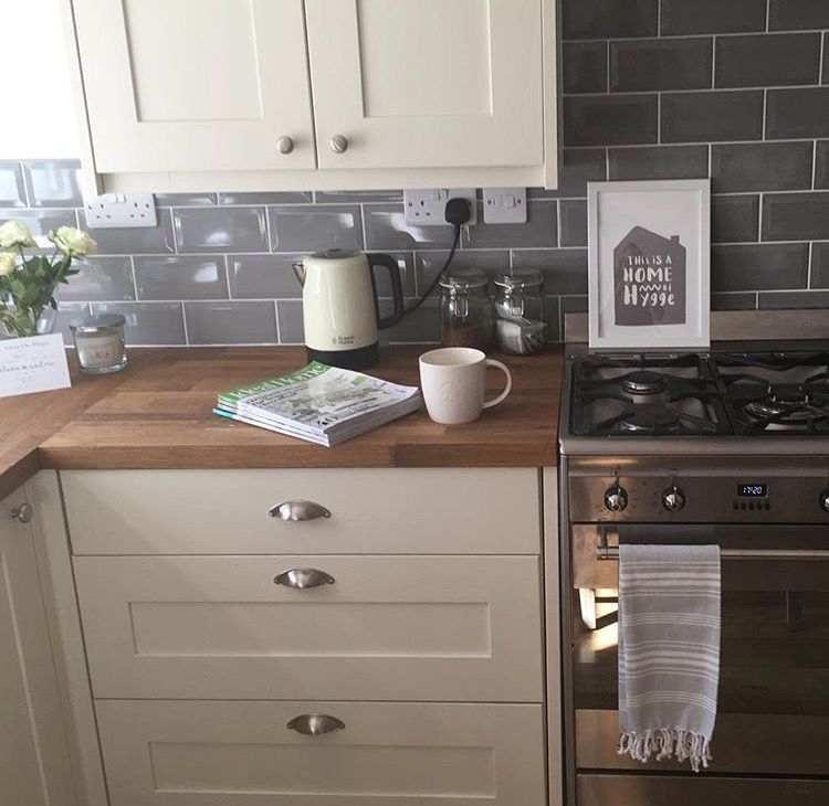 Cream Shaker Kitchen With Grey Metro Tiles Kitchen Renovation