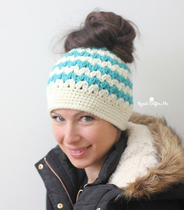 5c95d8b9582 I'm sure many of you have seen the latest crochet trend: Messy Bun Hats!  Also known as pony tail hat, these beanies have a hole at the top for your  hair to ...