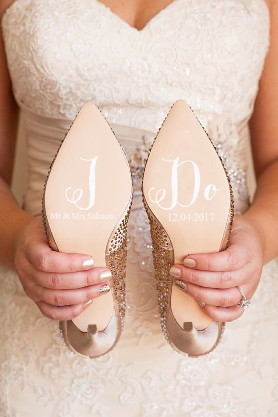 Personalised Wedding Shoe Vinyl Sticker Decal With Name Date