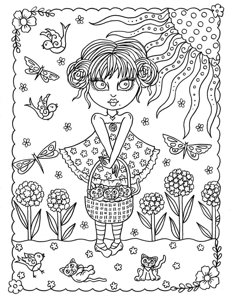 Crazy Cat Girls Digital Coloring Book Pdf Instant Download Etsy In 2021 Coloring Books Mermaid Coloring Pages Love Coloring Pages