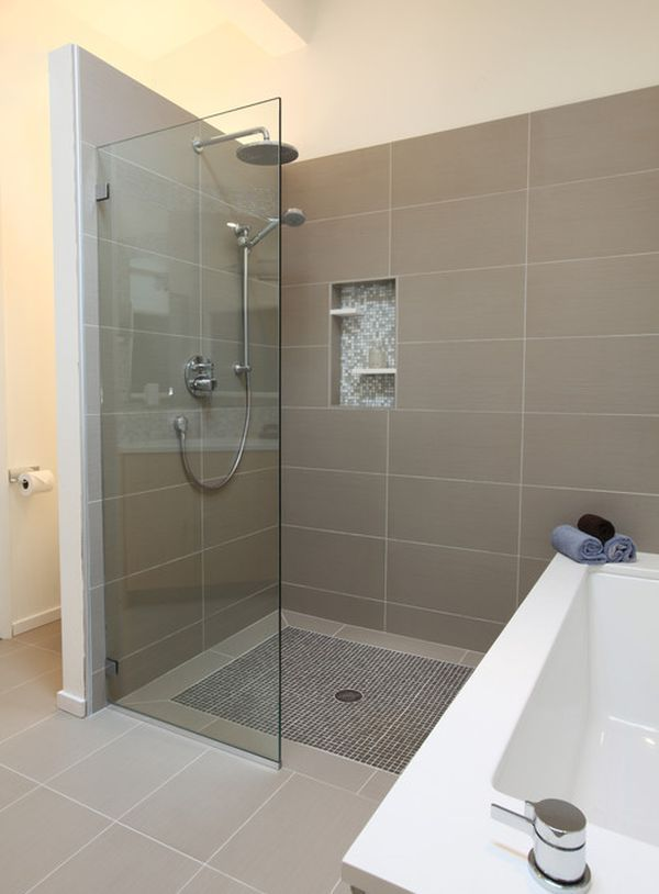 Attractive Midcentury Tiled Bathroom With Brown Tile Wall And Floor Color Also Open  Shower Design With Glass Divider And Modern Shower Head And Mixer Tap Also  Chrome ...