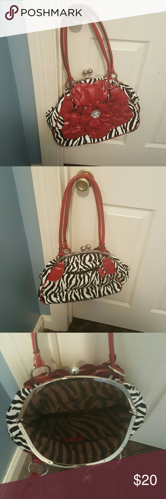 zebra print purse zebra print purse with red flower on front Bags Shoulder Bags