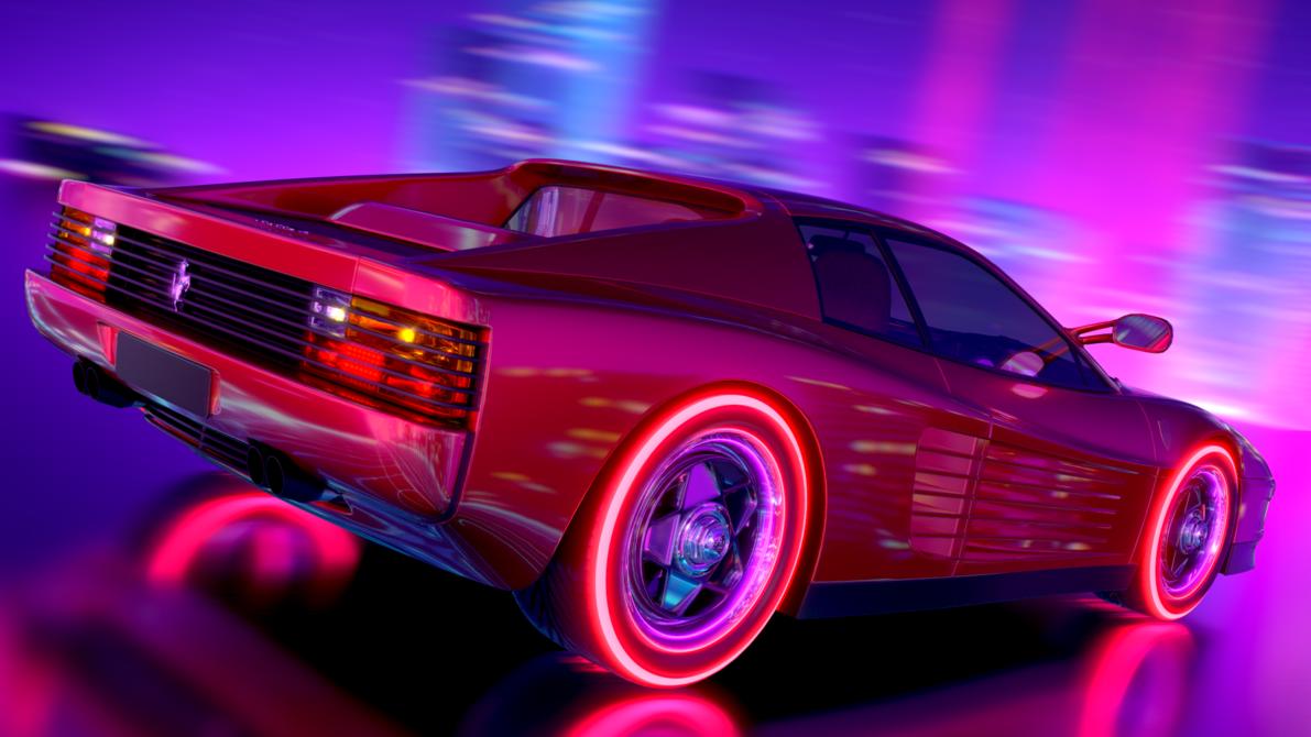 Testarossa Retrowave By Arslandad Deviantart Com On Deviantart Neon Car Retro Artwork Ferrari Testarossa