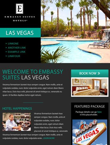 Hotel Newsletter Email Design  Embassy Suites Las Vegas