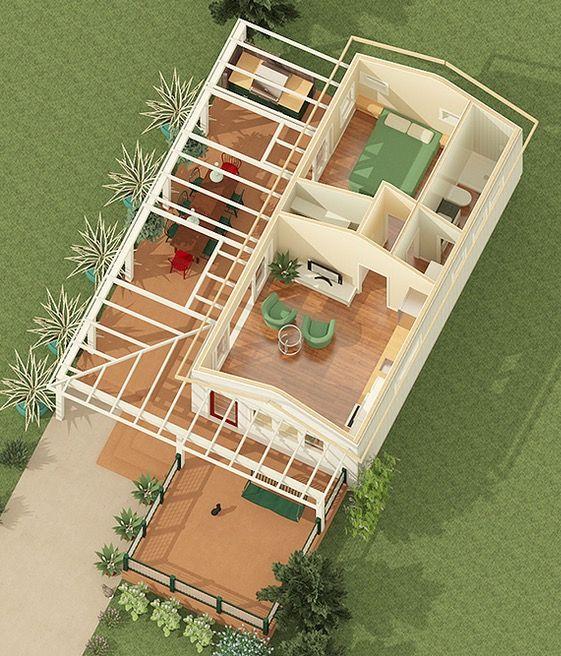 Vista aerea 3d plano de cabana caba as pinterest for Planos de cabanas campestres
