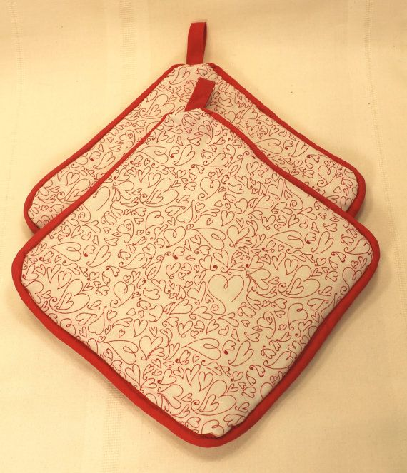 "Pot Holders/HotPads - ""Hearts""  w/Red trim - Designer - Kitchen/Housewares Item - Gifts under 10"
