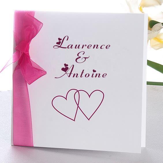 Préférence la vie en rose faire part de mariage coeur original ruban  CX64