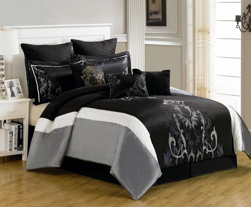 cal king bedding Piece Cal King Blanche Black and Gray