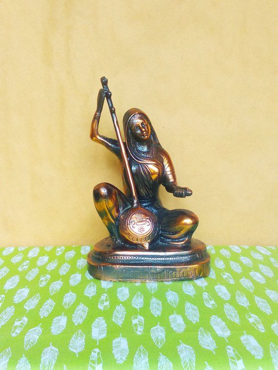 Elegant Woman Playing Musical Instrument Metal Statue - Eclectic