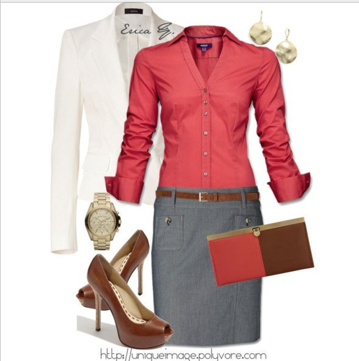 Red office outfit