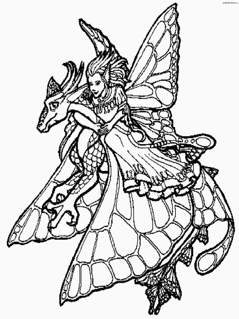 fairy and fairy dragon by unknown artist amy brown fairiescoloring pages - Coloring Pages Dragons Fairies