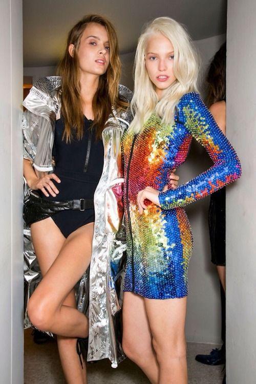 Josephine Skriver & Sasha Luss backstage at Emilio Pucci Spring 2014.