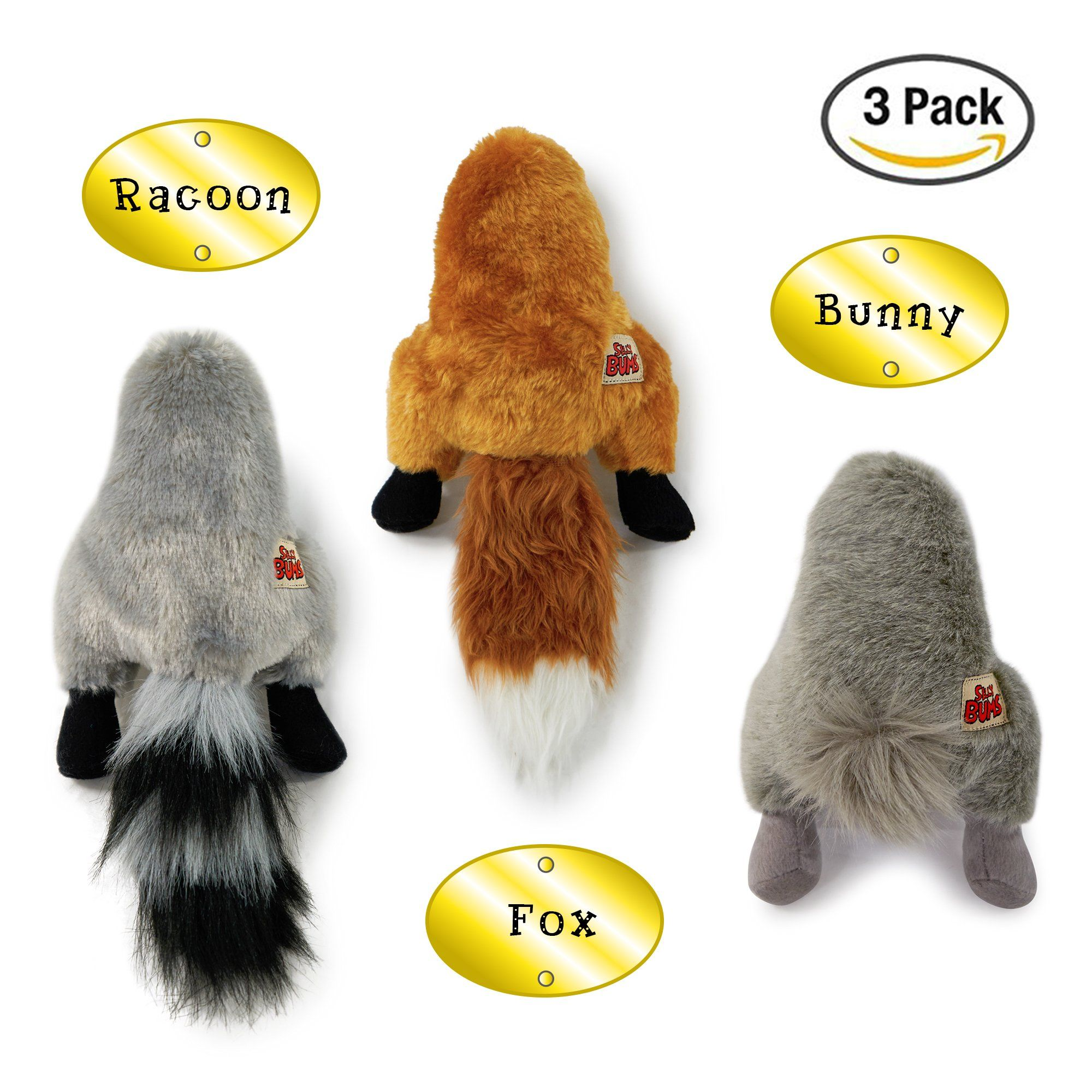 Small Dog Toys Silly Bums Small Woodland Animal Stuffed Dog Toy