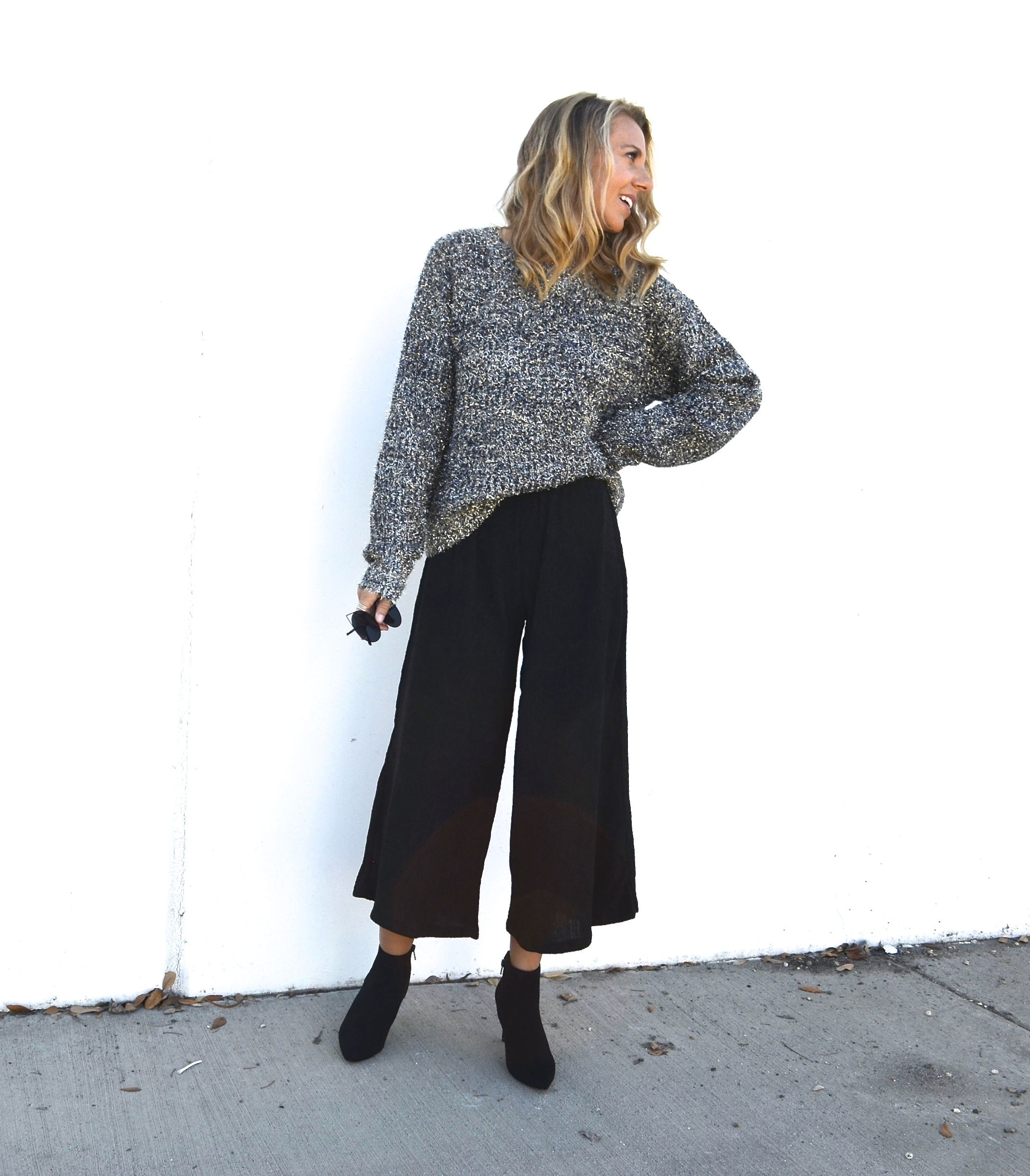 Styling A Metallic Sweater Two Ways - Jaclyn De Leon Style- fall outfit  inspiration + holiday style + casual street style + what to wear this  holiday + affordable style + forever 21 + how to style the metallic  trend + mom style + black crop flare pants