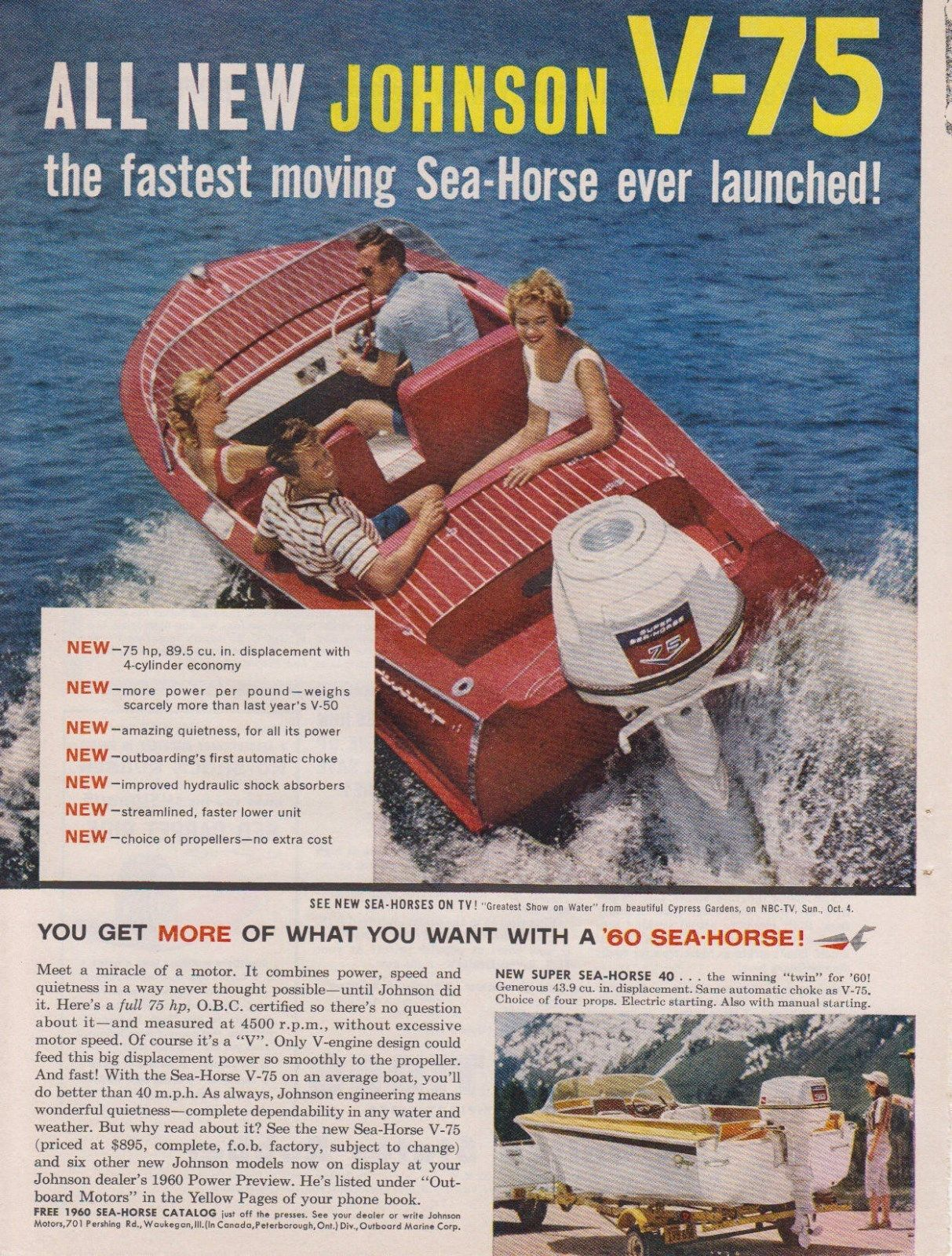 "1959 JOHNSON ""SEA-HORSE V-75"" 75 HP OUTBOARD MOTOR AD"