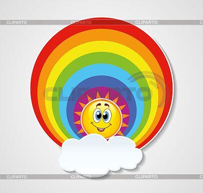 Икона радуга, солнце и облака | Векторный клипарт | ID ...