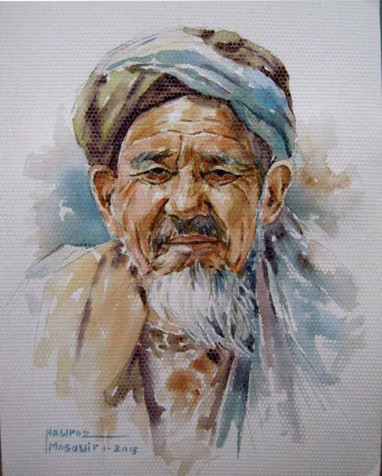 Hazara Old Man Watercolor On Paper Artist Nawroz Mosawir