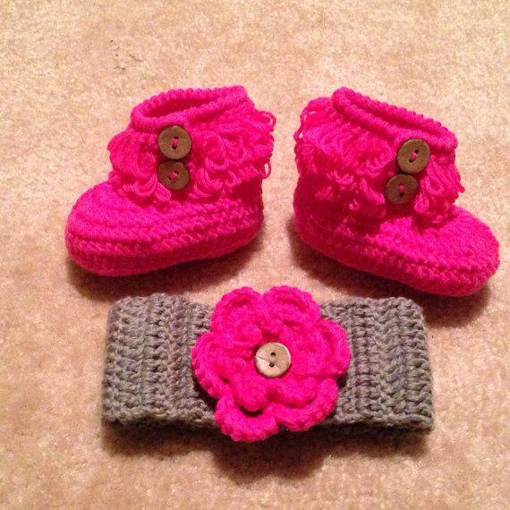Crochet Baby Booties and Headband Set, Hat & Booties ...