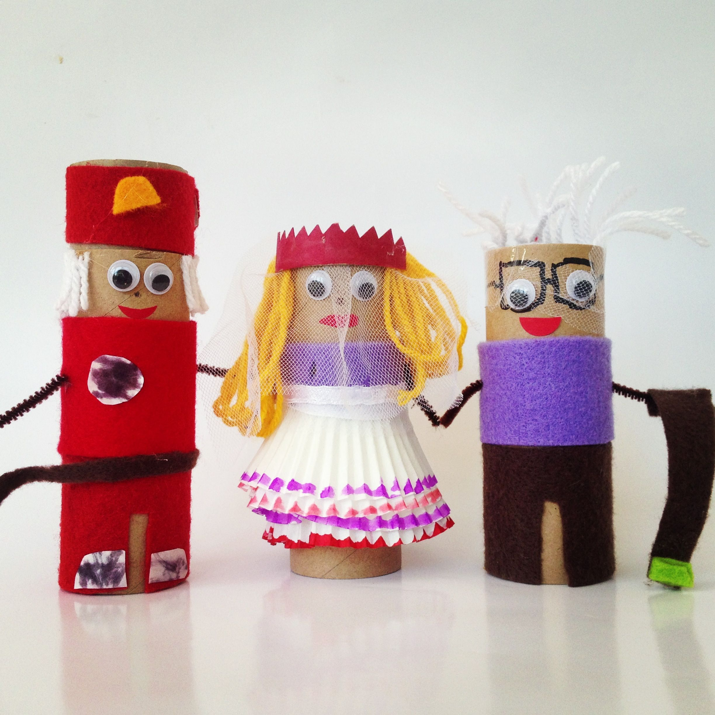 cute little toilet roll puppet characters made from scrap