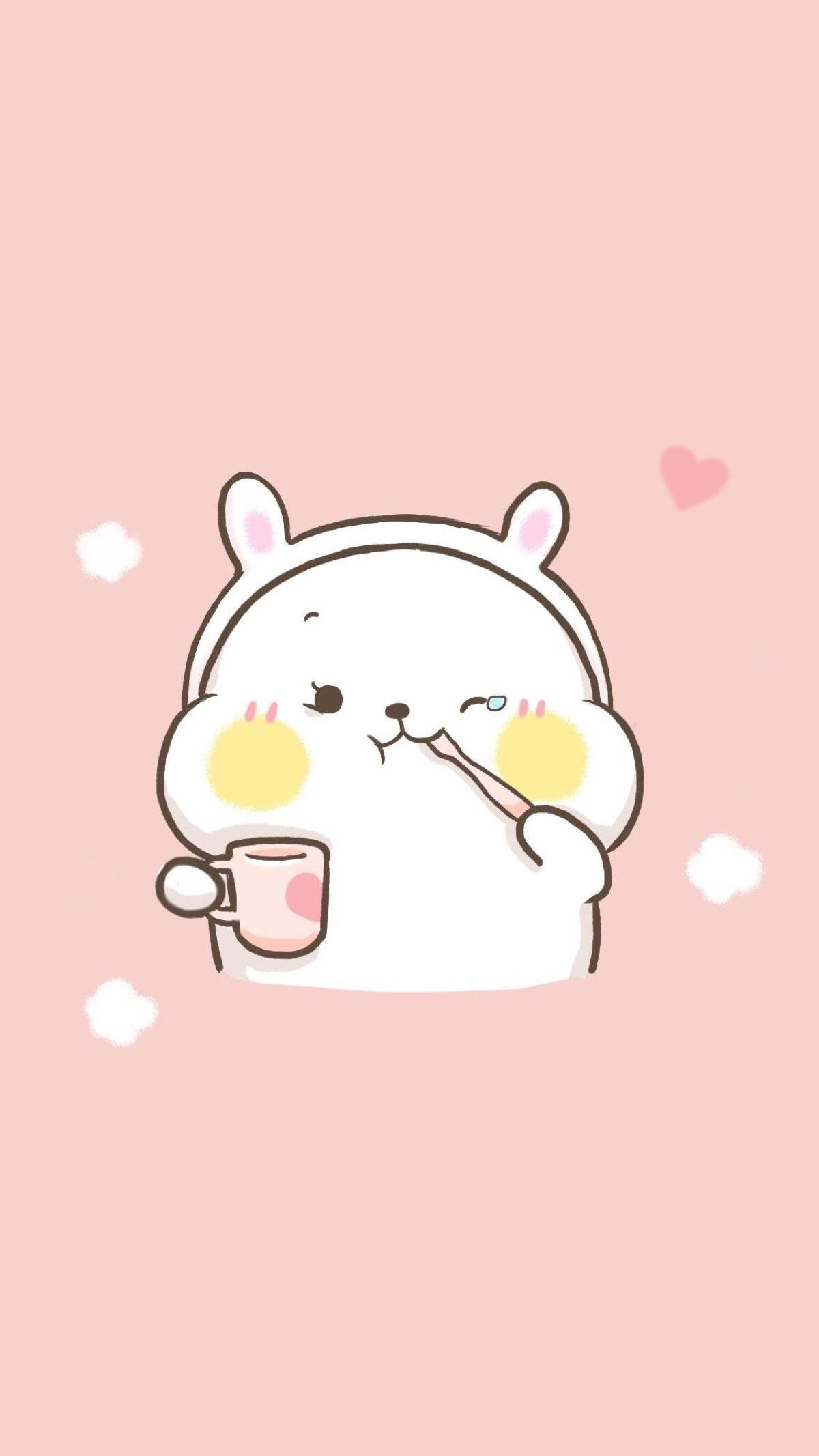 Image of: Tumblr kawaii bunny rabbit bear hamster cuteanimals pink pastel hearts cartoon animals wallpaper Pinterest Kawaii bunny rabbit bear hamster cuteanimals pink pastel