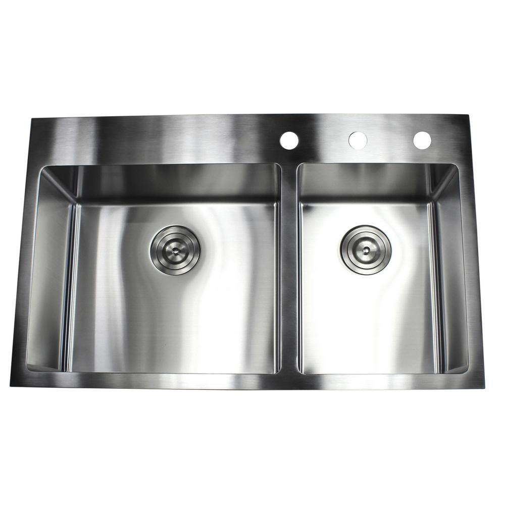 Drop In Top Mount 16 Gauge Stainless Steel 36 In X 22 In X 10 In 60 40 O In 2020 Double Bowl Kitchen Sink Replacing Kitchen Countertops Stainless Steel Kitchen Sink