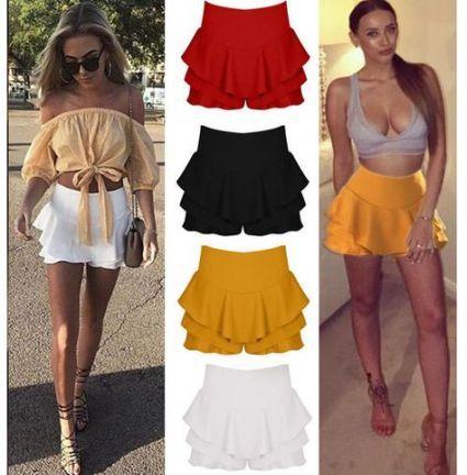 Women Layered Frill Ruffle Mini Skirt Ladies Celebrity High Waist Shorts Brief