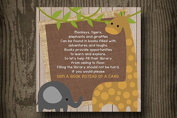 Jungle Baby Shower Printables  Bring a Book  by ellekaydoodle