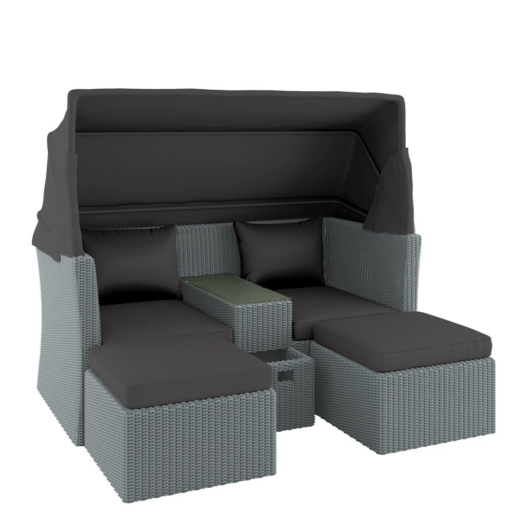 Buy marquis pe wicker modular outdoor sofa set w canopy grey online australia